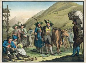 Historischer Stich einer Serie, koloriert, um 1800. Männer und Frauen in Tirol mit beruflichen- und Handwerks-Accessoires. (Bauer/Bäuerinnen, Hausierer, Händler, Hirte, Schnitzer, Klöpplerin etc.)