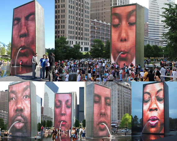 Crown Fountain Collage