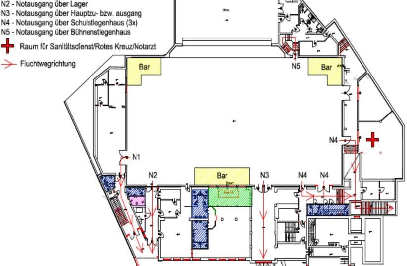 Sicherheit bei Veranstaltungen durch Notausgänge und Flächen für Rettung, Feuerwehr und Polizei