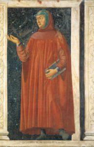 Francesco Petrarca, Fresko auf Holz, um 1450, 247x153cm, Uffizien, Florenz. Public Domain