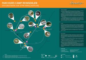 Plan des Parcours Camp Reinsehlen, Schneverdingen mit Werken von Jeppe Hein.