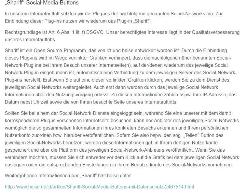 DSGVO konformes Social Media Tool Shariff in der Datenschutzerklärung