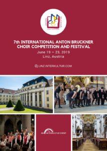 Ankündigung zum 7. Interationalen Chorwettbewerb und Festival Anton Bruckner in Linz 2019 Quelle: interkultur.com