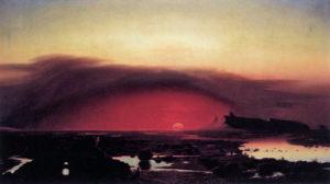 August Kopisch (1799-1853) Die Pontinischen Sümpfe bei Sonnenuntergang, 1848, Öl auf Leinwand, 62 x11cm. Alte Nationalgalerie Berlin. Quelle: Wikipedia, gemeinfrei