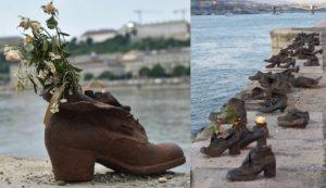 """Die Schuhpaare stehen am Ostufer, auf der Pester Seite der Donau, am Ende der Széchenyistraße direkt am Wasser. Auf einer Länge von 40 Metern wurden sechzig Paar Schuhe aus Metall zum Gedenken an die Erschießungen von 1944 und 1945, als Pfeilkreuzler jüdische Ungarn am Donauufer zusammentrieben und erschossen, am Boden angebracht. Das Holocaustmahnmal wurde 2005 so gestaltet, dass es auf den ersten Blick nicht verrät, welches Geschehen dahintersteckt. Die Inschrift auf den Gedenktafeln in den Sprachen Ungarisch, Englisch und Hebräisch lautet: """"Im Gedenken an die Opfer, die 1944/45 von bewaffneten Pfeilkreuzlern in die Donau geschossen wurden"""". Im Unterschied zum Mahnmal für die ermordeten Juden Ungarns bei der Großen Synagoge ist es am Donauufer ein eher stilles Gedenken. Foto: Moshe Harosh (links) und Anil Ozturk (rechts)"""