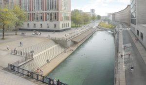 """Plan für eine Flussschwimmbad in Berlin-Mitte im """"Kupfergraben"""". Ansicht des Schwimmbereichs / © Ilot Vert. © realities:united / Flussbad Berlin e.V. PR-Foto: Schweizerisches Architektur Museum Basel"""