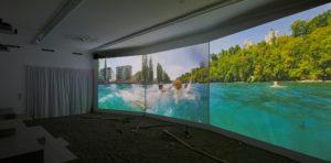 Projektion von Jürg Egli, Schweizerisches Architektur Museum Basel. Foto: Lucía de Mosteyrín