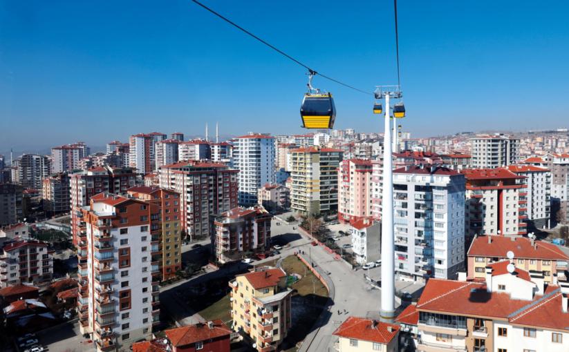 Die längste Stadtseilbahn Eurasiens befindet sich in Ankara.