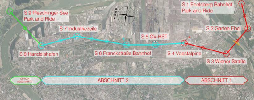 Die Stadtseilbahn in Linz wird in drei Abschnitten gebaut