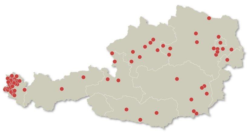 Gestaltungsbeirat: Regionale Verteilung