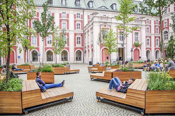 Mobile Stadtmöblierung zur optimalen Gestaltung eines Platzes